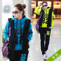 Sports casual set thickening vest sweatshirt piece set plus size clothing