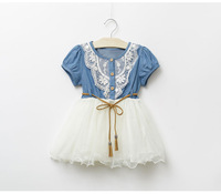 girls summer denim dress Kids cowboy lace dresses girl short Sleeve princess clothes girl casual clothe