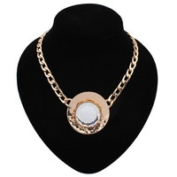 2014 New Design Women's Fashion Jewelry Charm Gold Chain White Glass Pendant Necklaces Wholesale&Retail Free Shipping#104965