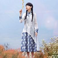 Original design trend women's national spring and summer vintage cheongsam one-piece dress  Free Shipping