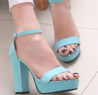 Womens Sandals Buckle 2014 Fashion Sexy High Heel Shoes Peep Toe 4.5cm Platform Black Apricot Size 34-39 free shipping