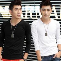 Sallei men's clothing winter male T-shirt long-sleeve slim male plus velvet thickening V-neck basic shirt clothes