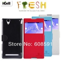 Original Nillkin Brand Fresh Series Flip Leather Case For Sony Xperia T2 Ultra XM50h ,with retail package MOQ:1PCS free shipping