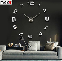 2014 new Creative Big DIY 3D Digital Mirror Sticker Wall Clock Modern Art Wall Clocks Watch Unique Gifts Home Decoration