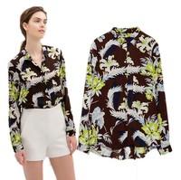 New Spring Summer 2014 Fashion Women Body Long Sleeve Plus Size Chiffon Blouse Brand Style Ladies' Print Flower Retro Shirts