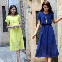 2014 women's slim plus size clothing chiffon one-piece dress long gown dress basic short-sleeve expansion bottom one-piece dress