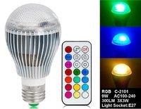 Wholesale Price E27 9W AC100-240V RGB LED Bulb with 21-Key Remote Control  lighting Colorful LED Lamp Spot light  Free shipping