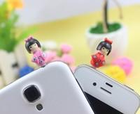 Free Ship 2pcs/lot new 2014 Lovely cute Japan doll cartoon girl earphone cap jack dust plug  for iPhone5s 4s SAMSUNG 3.5mm
