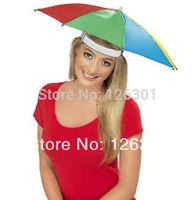 Umbrella Hat Cap Multicolor Brock Hands Free Head Strap Golf Sun & Rain