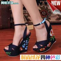 Gl women's shoes ultra 2014 platform high heels wedges sandals denim embroidered platform shoes free shipping