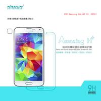Nillkin nano anti-burst tempered glass film for Samsung galaxy s5 g900,screen protector for Samsung galaxy s5 g900+1pcsLens film
