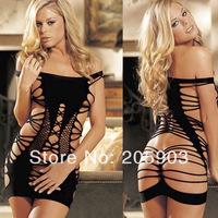 Free Shipping Flirty Fishnet Detail Stretch Knit Chemise Dress Wholesale 12pcs/lot Women 2014 Newest SEXY lingerie  21152