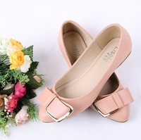 2014 New bowknot metal pointed toe shoes The shallow mouth flat shoes For women ladies black Pink British shoes  Drop shipping