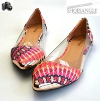 2014 New style Bohemia embroidery flower point single shoes Transparent  shoes The Shallow mouth flat Composite bottom