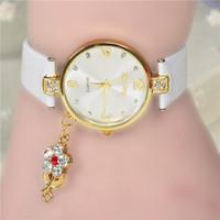 Hot! Latest Popular Hawaiian Style  Fashion Rhinestone Pendant Inlaid Rose Woman Leather Quartz Watch