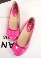 2014 New The spring of  sweet shoes for women round head double Bowtie  flat shoes Candy pure color joker patent leather shoes