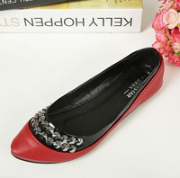 2014 New style  beads Rivet point PU leather shoes flat shoes For women ladie Low mouth flat shoes Drop shipping
