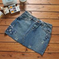europe size XS-XL 2014 spring summer women plus size Embroidered denim skirt  package hip skirt cotton mini denim skirt women