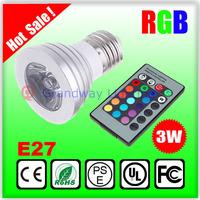 16 Single Colors LED Lamp spotlight 3W E27 RGB Light bulb 110V to 220V Four-Funtion for Decorative Home