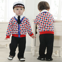 3set/lot wholesale ,5pcs set long sleeve baby jacket shirt pants tie hat clothes set ,infant fashion clothes