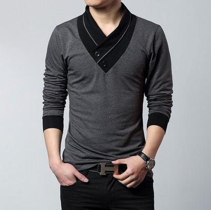 Mens Fashion Designer Cross Line Slim Fit Dress man Shirts Tops Western Casual Brand casual V-neck long-sleeved t-shirt(China (Mainland))