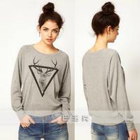 6163 brief deer print pullover sweatshirt