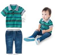 Retail new 2014 cotton baby boy summer clothing set stripe blue t shirts+jeans 2pcs  tracksuits children fashion brand design