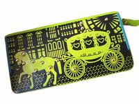 Newest Retro Carriage Rivets Zipper Green Purse Lady Multifunction Wallet