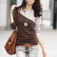 2014 autumn women's 100% cotton female long-sleeve T-shirt color block t shirt o-neck slim basic shirt