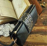 HOT SALE! Vintage rivets Cluth Bag Women fashion handbag shoulder bag purses card bag PU leather Evening Bags wholesale KN039