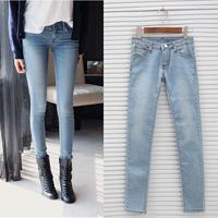 Free Shipping Women's 2014 New Fashion Korean Spring And Autumn Vintage Light Blue Low Waist Skinny Denim Pencil Pants D11216