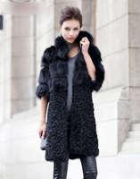 New Women Fashion  Genuine Fox Fur Coat and Lamb Fur Jacket Ladies' Winter Long Outwear TPCF0001