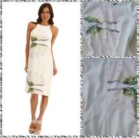 Free shipping 2014 ladies elegant white colored flower print halter dress Slim casual group 1134