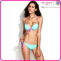 RELLECIGA 2014 Women Swimwear Pastel Green Halter Bikini Set Swimsuit with Peek-a-boo Keyholes and Supersoft Push-up Paddings