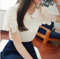 2014 women's peter pan collar ruffle petals solid color short-sleeve chiffon top shirt o-neck