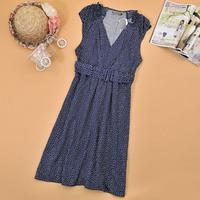 Summer 2014 women's deep v neck slim polka dot sleeveless one-piece dress ca064