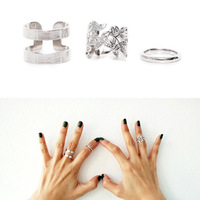 Trendy Rock Style Silver Color Alloy Mid Finger Ring Set Midi Ring For Women