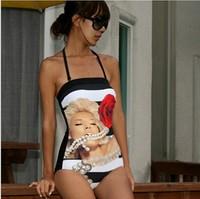 Monroe Print Pattern Swimwear Women Vintage Push Up One Piece Swimsuit Sexy Pad Inside Bathing Suit New 2014 Brand Beachwear