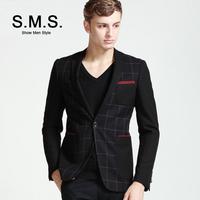 S.M.S.  2014 New TR Blazer Men's Suits Men Plaid Casual Slim Brand Blazers Jacket Free Shipping 135093
