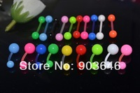 200pcs Body Jewelry Piercing Solid Color Navel Belly Button Tongue  Ring Barbells UV Flexible Free shippment