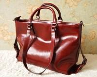 Hot Sale Wax Cowhide Bag Fashion Brand Messenger Bag Composite Genuine Leather Handbag Women Vintage Motorcycle Bag Tote WL46