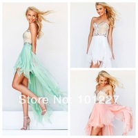NEW 1920 New Arrival A-Line Sweetheart  Shining Beaded  High-Low Chiffon Prom Dress