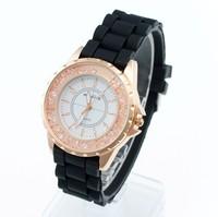 2014 new arrival Fashion silica gel watch ,women rhinestone watches Free shipping