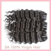 "5A 12-30"" 95-100g/pc 3pcs/lot Brazilian Virgin human hair extensions deep wave weave natural black hair weft DHL free shipping"