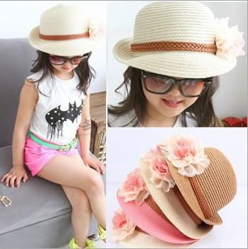 Корейской девушки кепки для лето с красивым цветочным дизайном твердого соломы пляж вс шляпа бесплатная доставка 33023