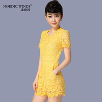 Nordic winds 2014 spring and summer women's fashion o-neck lace slim jumpsuit
