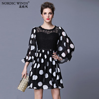 Nordic winds 2014 spring and summer women's fashion chiffon lace patchwork polka dot one-piece dress