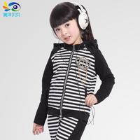 Child spring set female spring and autumn long-sleeve zipper sweater female child sports sweatshirt set