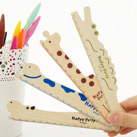 4 pcs/set Wooden stationery cartoon animal style wooden ruler  (MA)