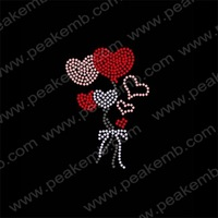 Wholesale Heart Rhinestone Heat Transfers With Love Motif Hot Fix Strass Design Iron On Applique Free Dhl Shipping 50Pcs/Lot